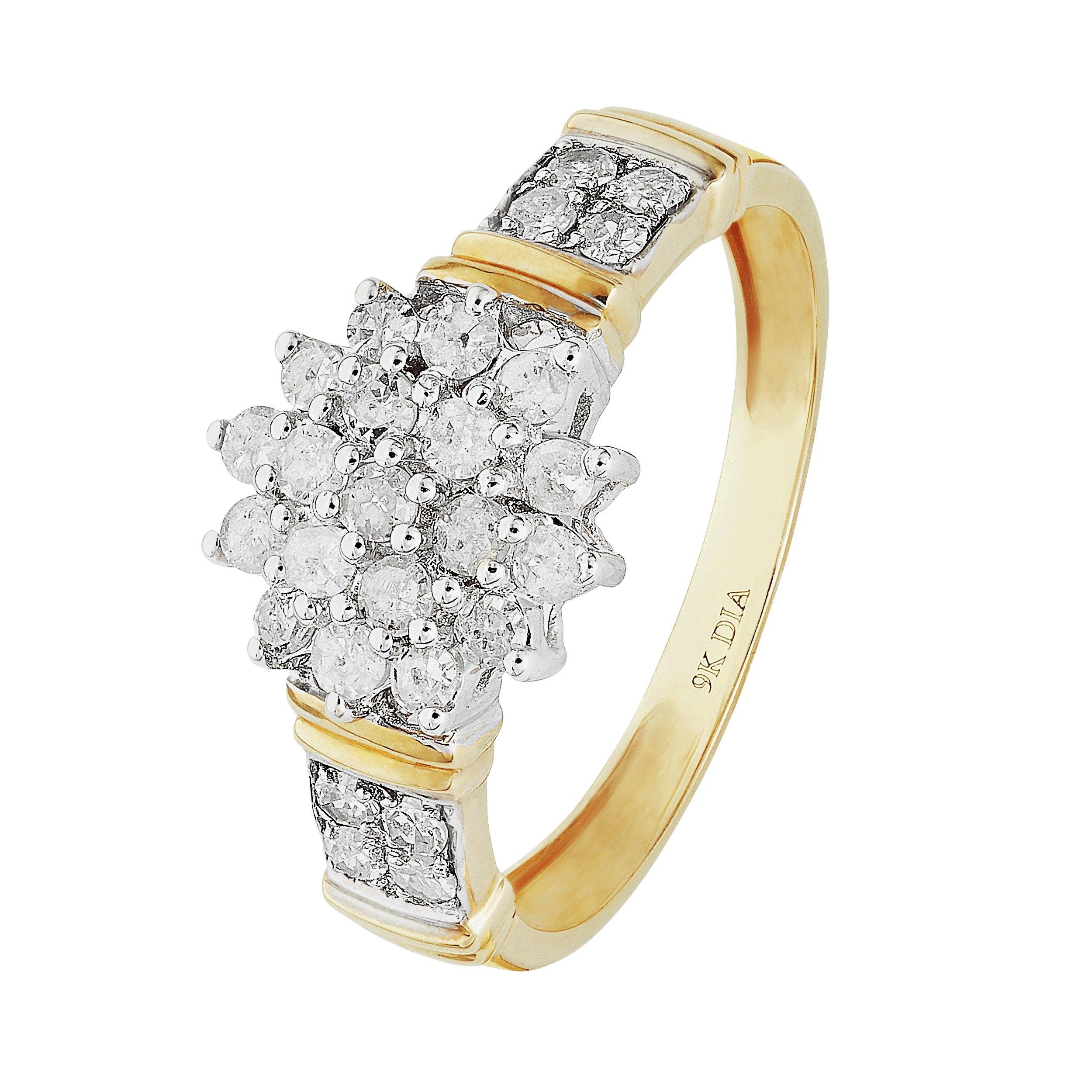 Buy Revere 9ct Gold 0 50ct tw Diamond Cluster Ring at Argos