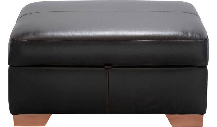 Habitat Eton Leather Storage Footstool - Dark Brown