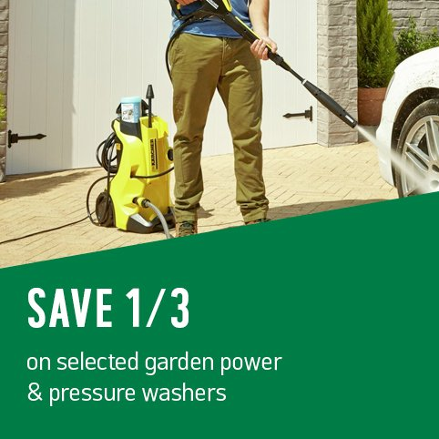 Save up to 1/3 on selected garden power & pressure washers.
