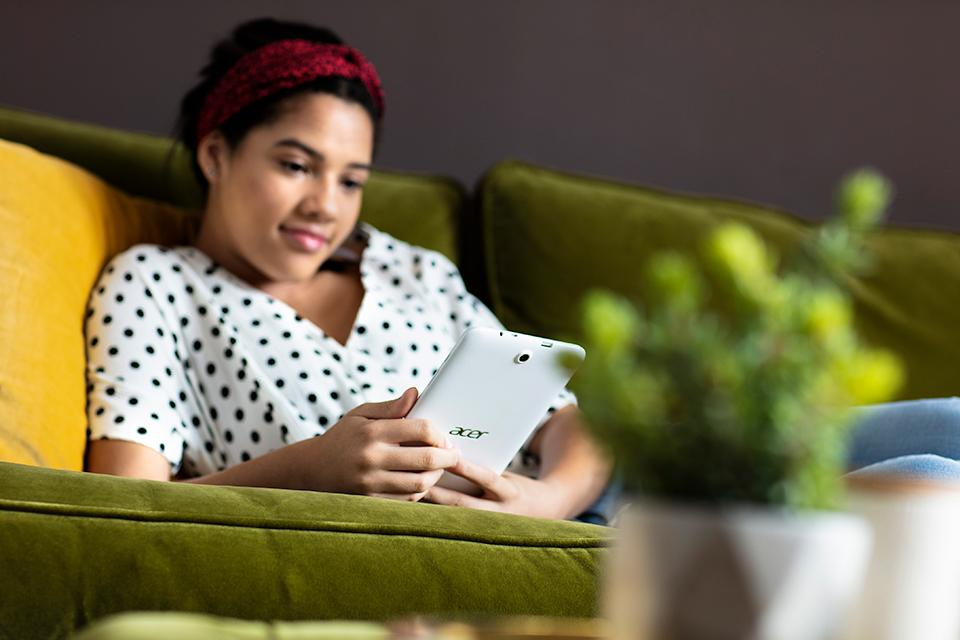 Young girl on tablet device.