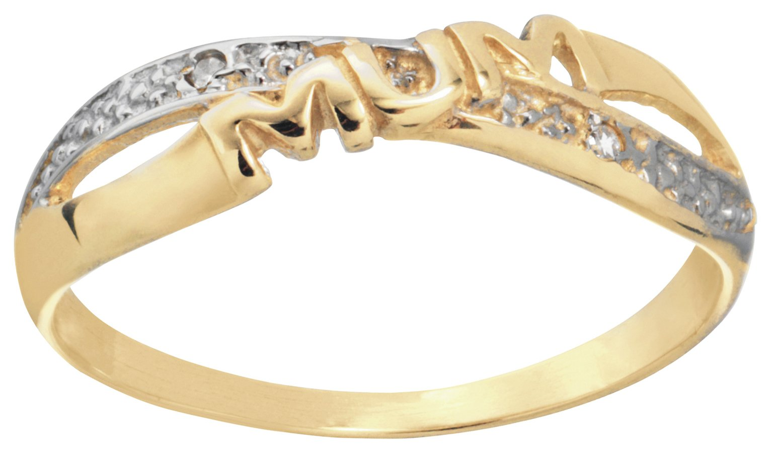 Buy Moon & Back 9ct Gold Diamond Accent Mum Crossover Ring at