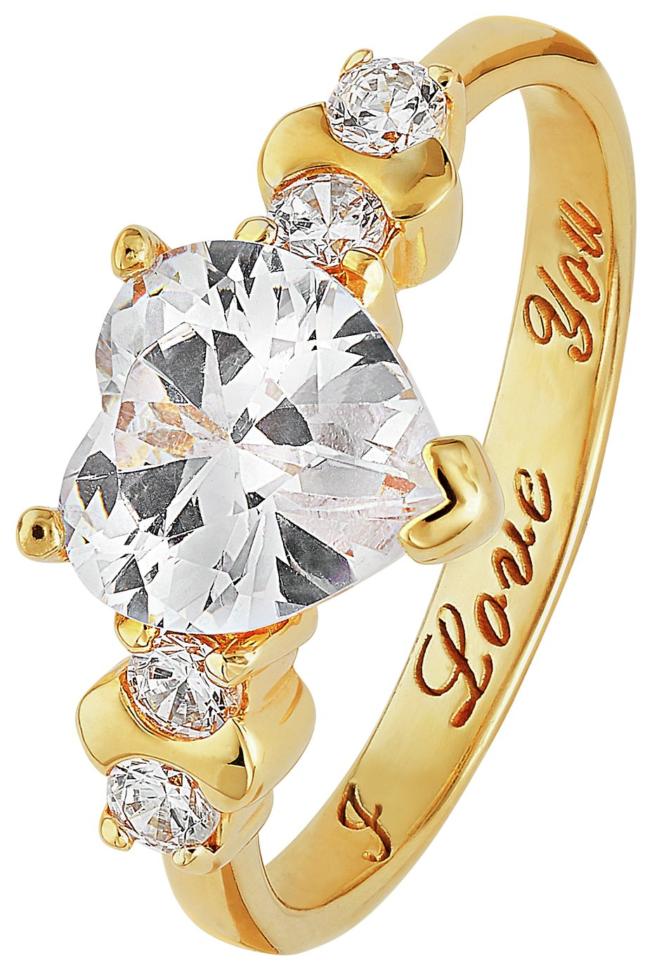 18 Carat Gold - Plated Silver Cubic Zirconia 'I Love You' Ring