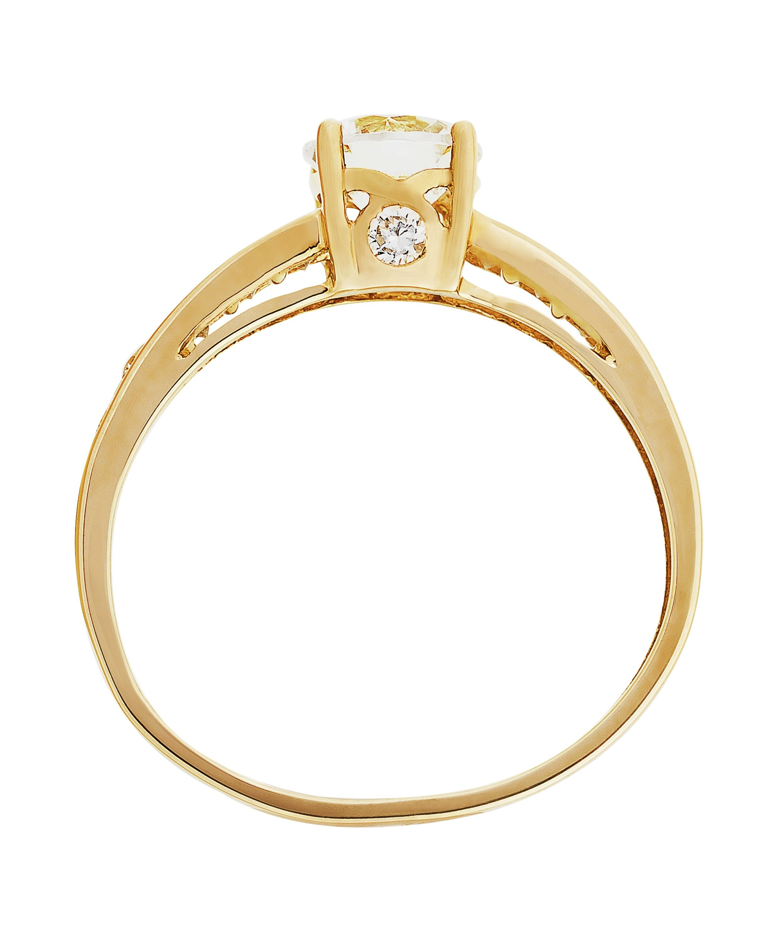buy 9ct gold solitaire cubic zirconia shoulder ring at