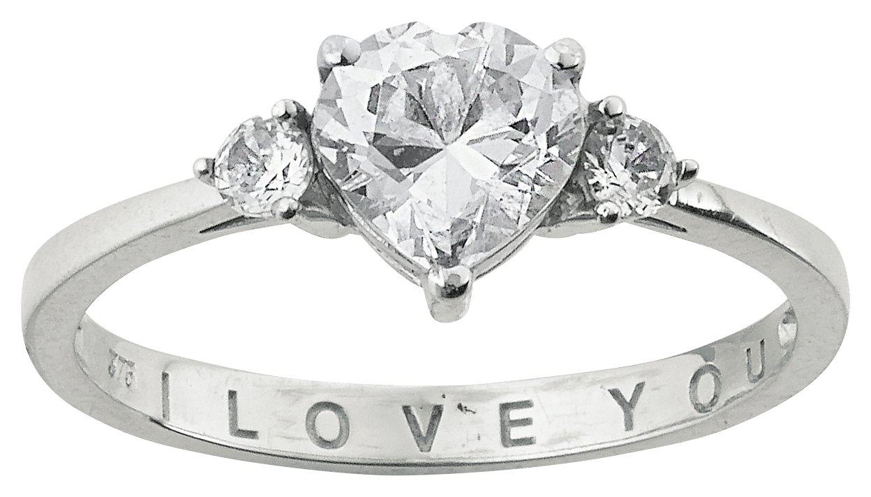 Buy Moon & Back Sterling Silver Cubic Zirconia I Love You Ring