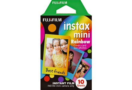Cut out image of the FujiFilm Mini Deco instant film in Rainbow print.
