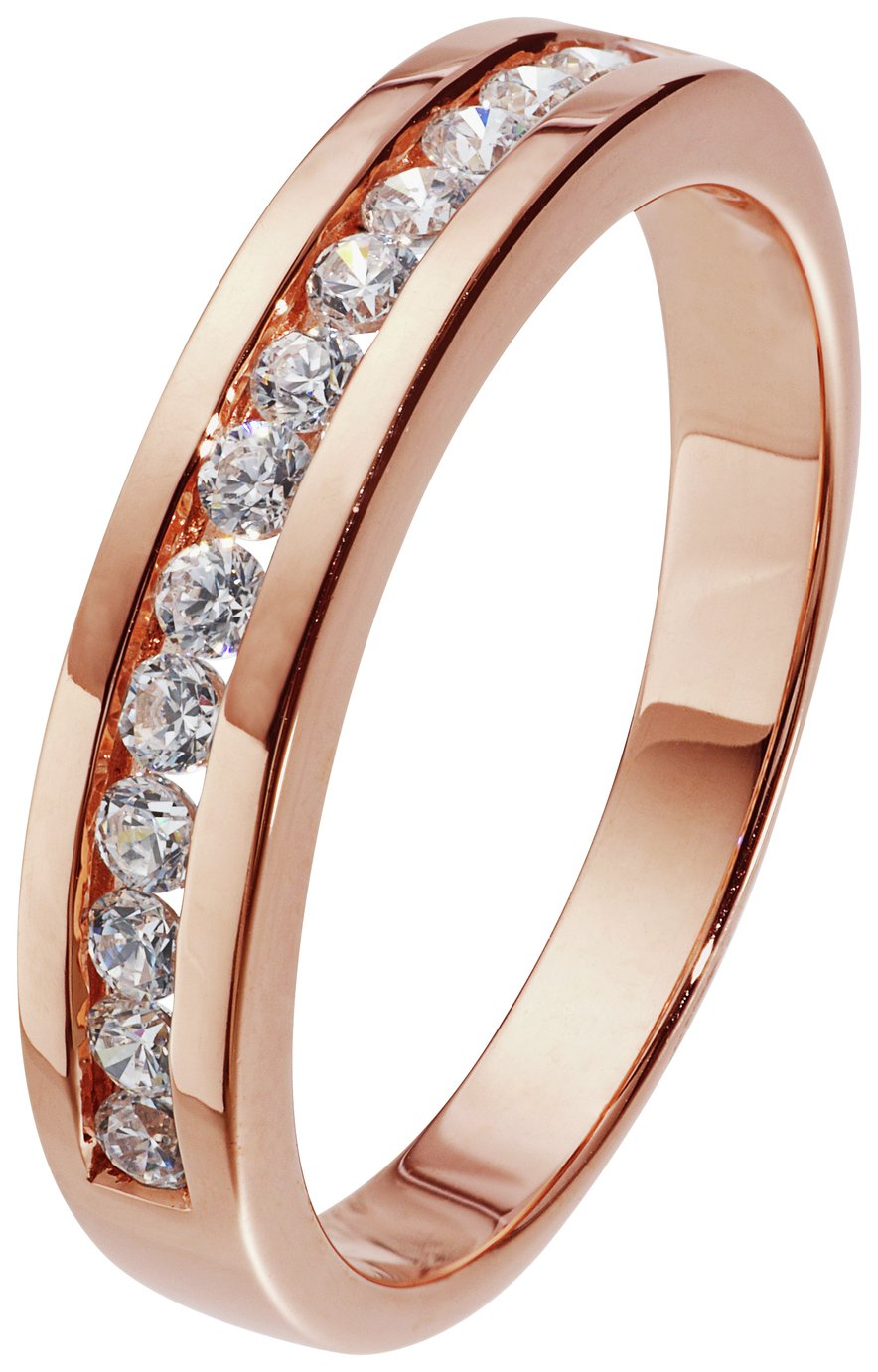 Revere 18ct Rose Gold Plated Silver CZ Eternity Ring
