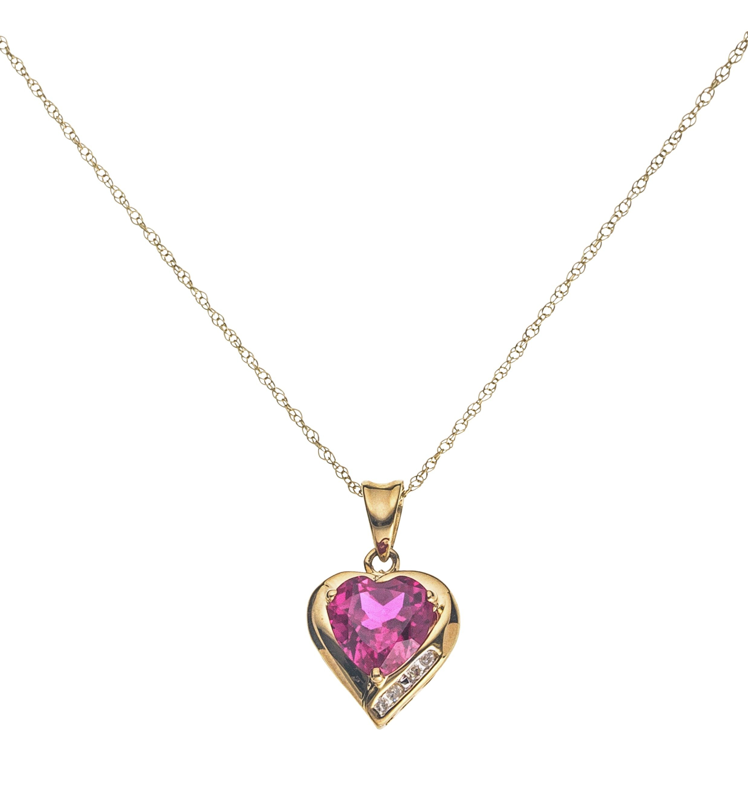 Revere 9ct Gold Created Ruby & Diamond Accent Heart Pendant