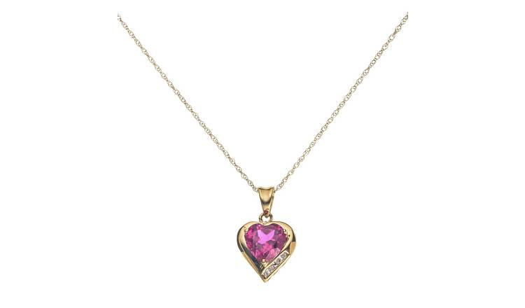6e52c6bd91d35 Buy Revere 9ct Gold Diamond Heart Pendant 18 Inch Necklace | Womens  necklaces | Argos