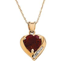 9ct Gold Created Ruby and Diamond Accent Heart Pendant