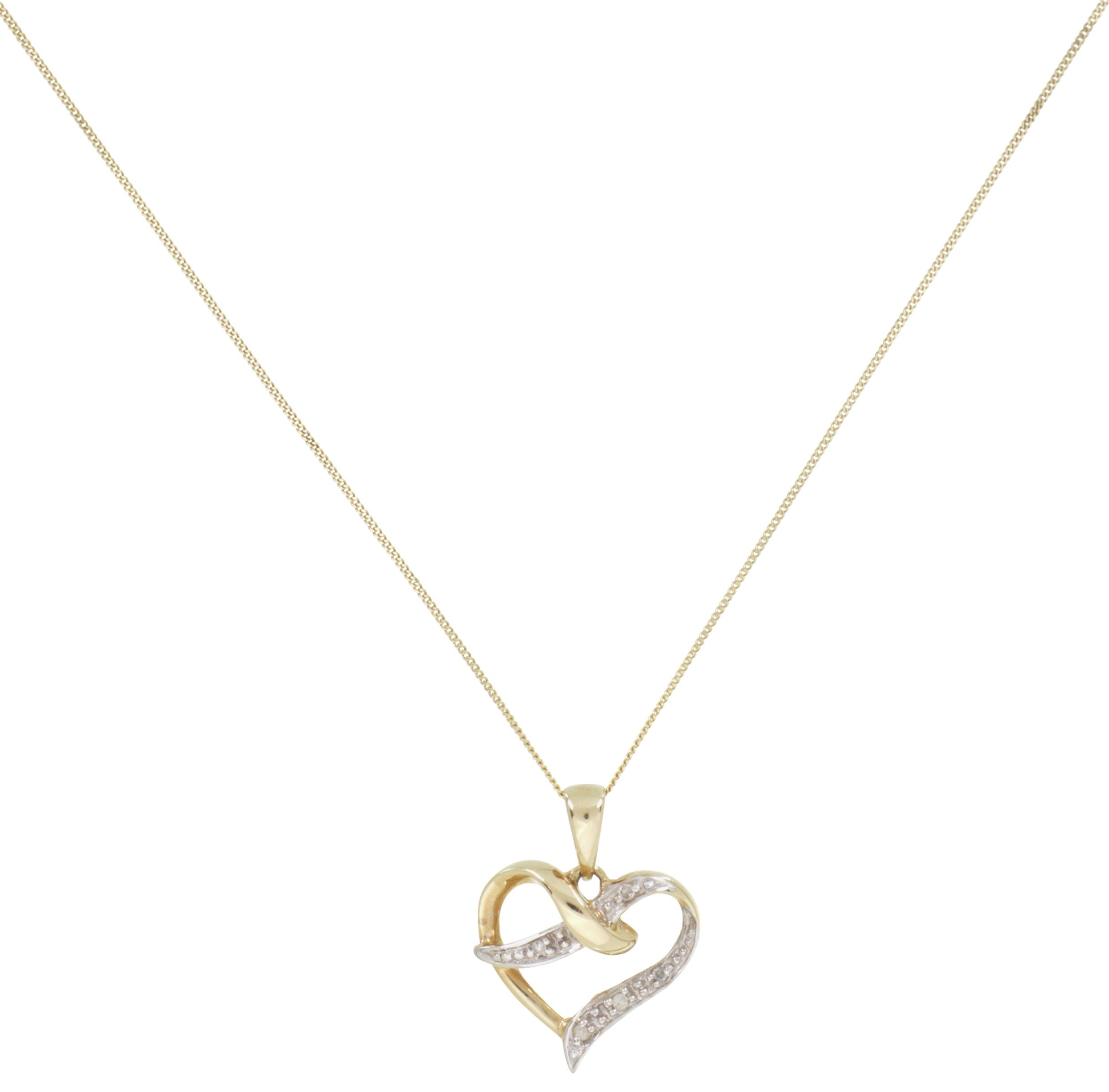 Revere 9ct Gold Diamond Accent Heart Pendant