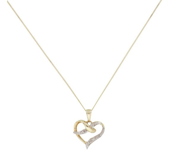 Buy revere 9ct gold diamond accent heart pendant ladies necklaces revere 9ct gold diamond accent heart pendant aloadofball Image collections