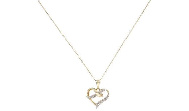 d5d50c03f 9ct Gold Diamond Accent Heart Pendant - Pendant Design Ideas
