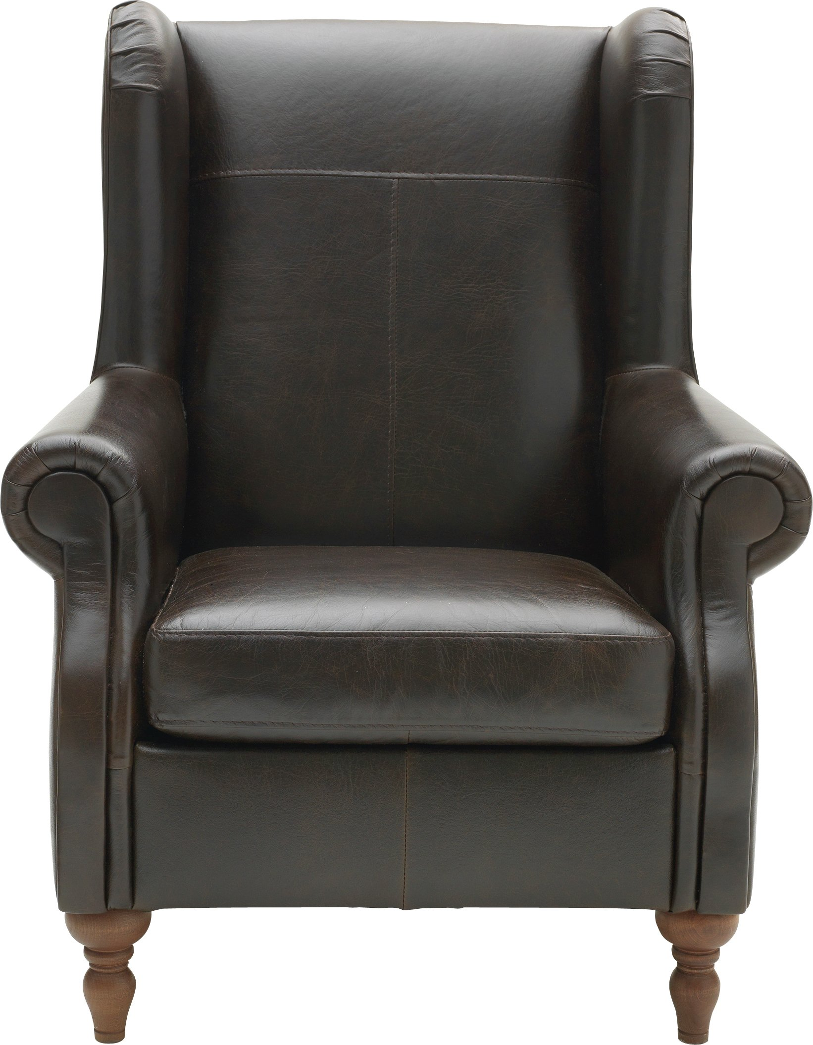 Argos Home Argyll Leather High Back Chair - Dark Brown