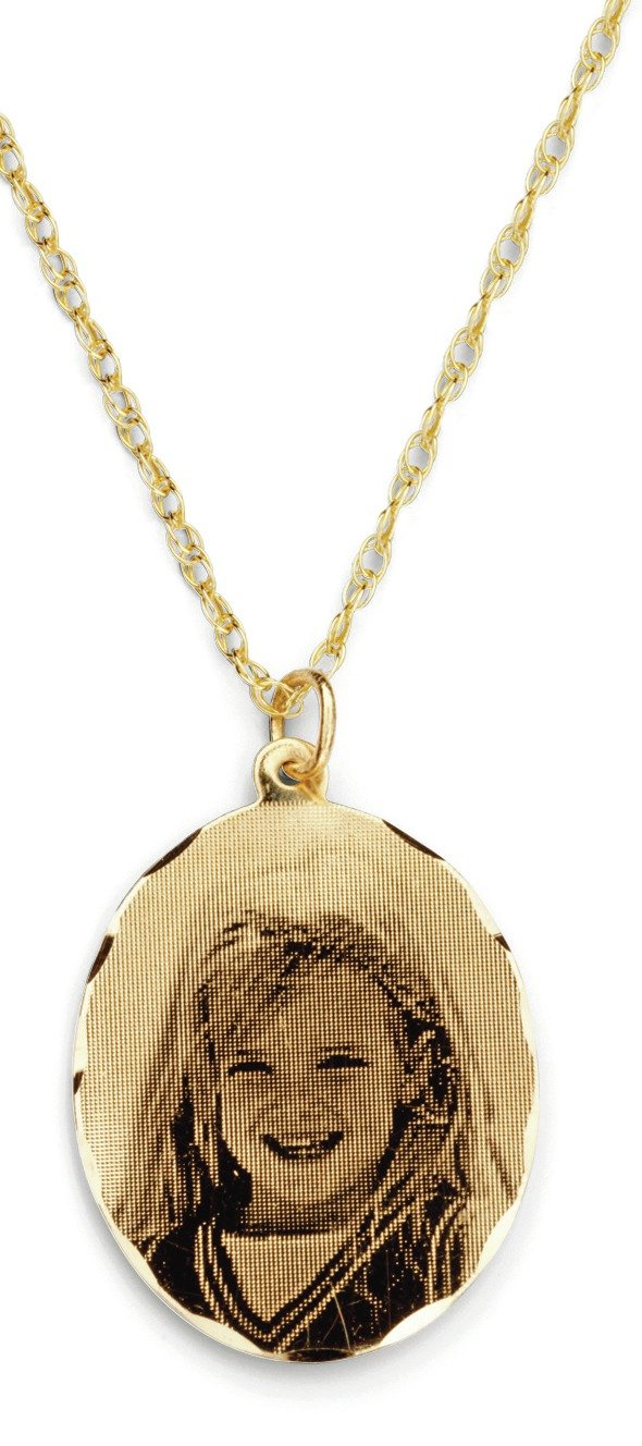 Moon & Back 9ct Gold Personalised Holographic Pendant