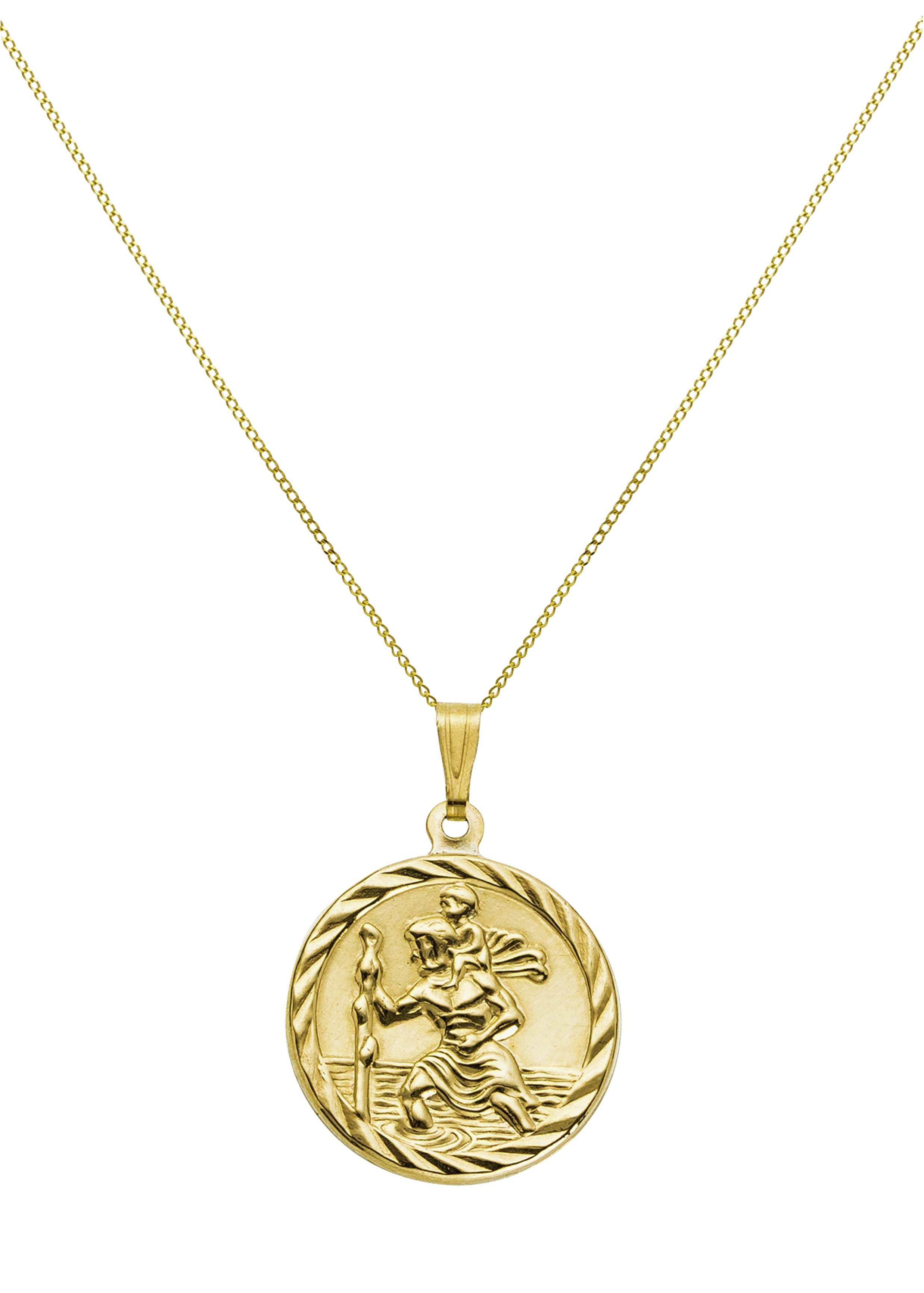 9 Carat Gold - Double Sided Rope Edged St. Christopher Pendant.