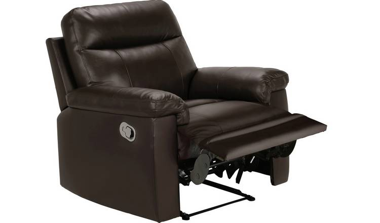Argos Home Paolo Leather Mix Manual Recliner Chair - Brown