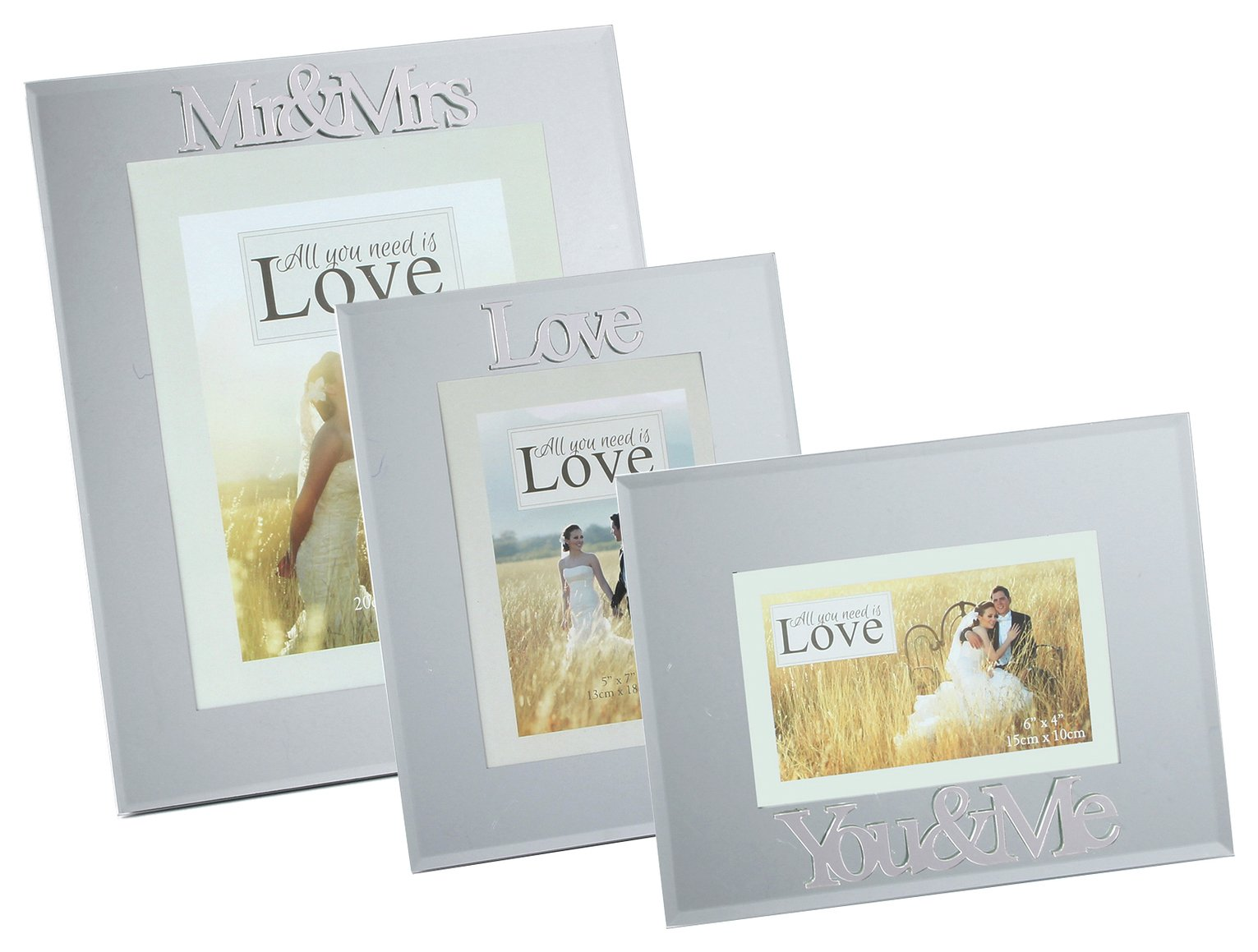 Happily Ever After Set of 3 Mirror Photo Frames