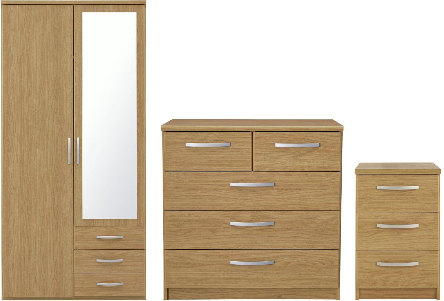 Image of Collection Hallingford 3 Piece 2Dr Wardrobe Pkg - Oak Eff