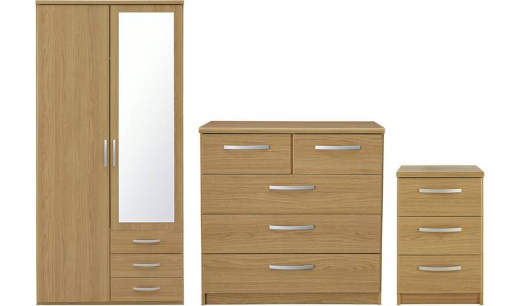 Argos Home Hallingford 3 Piece Wardrobe Set - Oak Effect