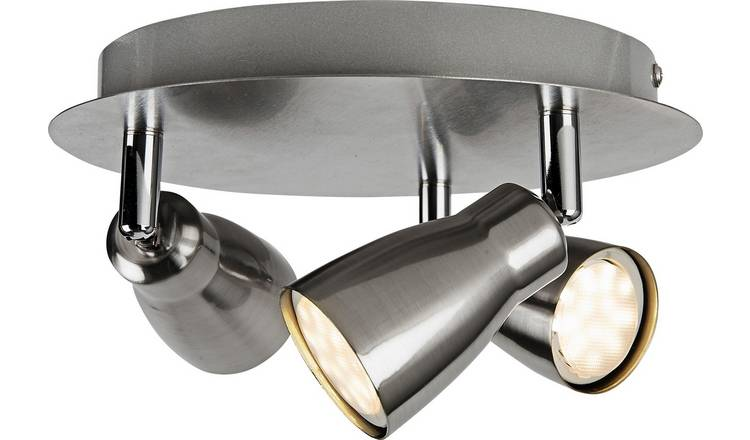 Argos Home Miller 3 Spotlight Ceiling Plate - Brushed Chrome
