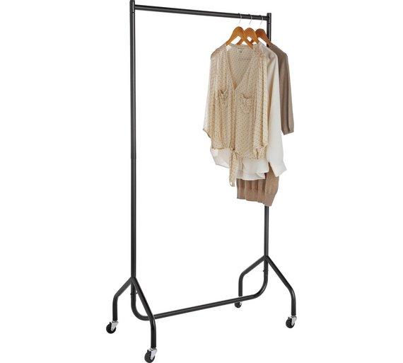 Buy home single heavy duty clothes rail black hanging rails argos home single heavy duty clothes rail black sisterspd