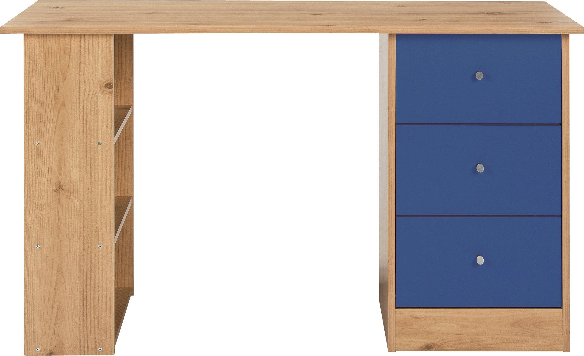 home  kids new malibu 3 drawer desk  blue on pine