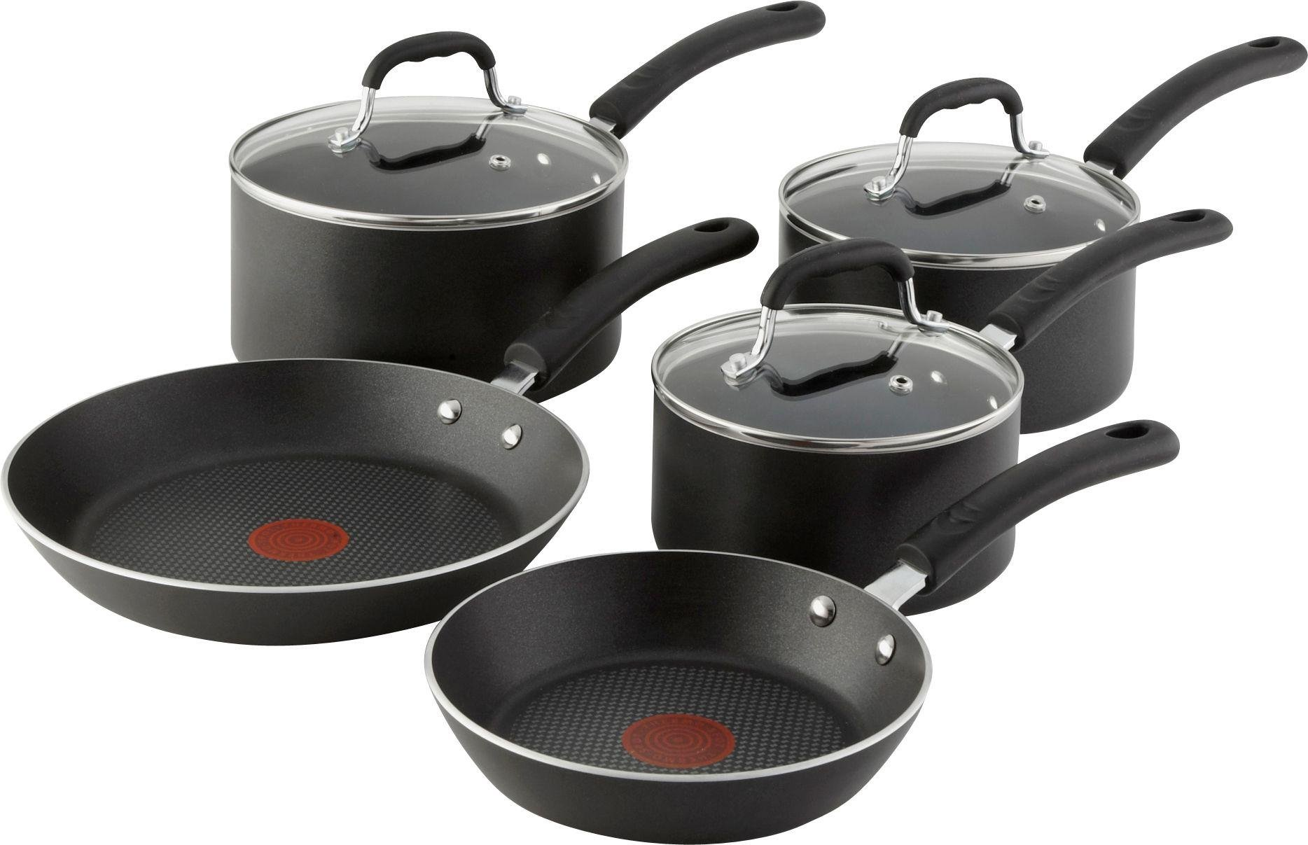 Non-Stick Frying Pan Tefal Saucepan Set Cookware 5 Piece Glass Lid