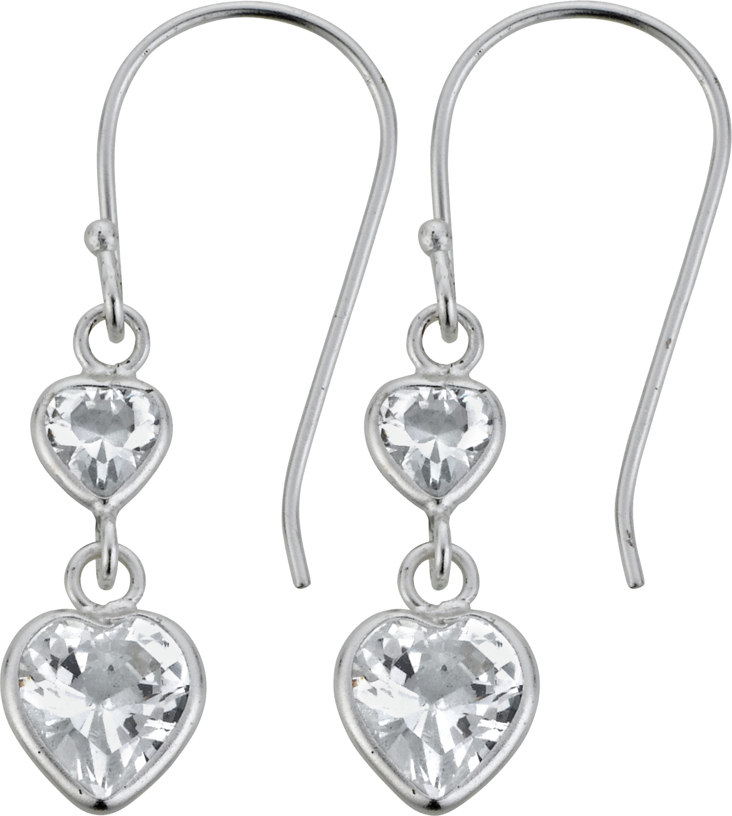 Revere Sterling Silver Cubic Zirconia Heart Drop Earrings