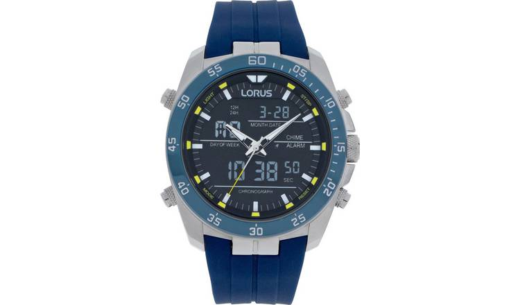 Lorus Men's Chronograph Blue Silicon Strap Watch