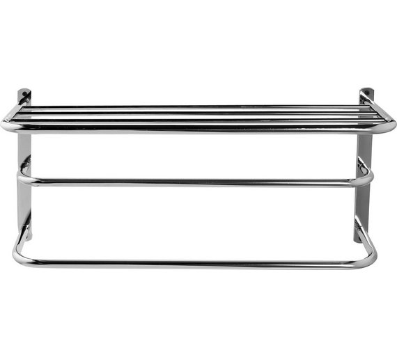Buy Argos Home Wall Mounted Towel Rail with Shelf - Metal | Towel ...