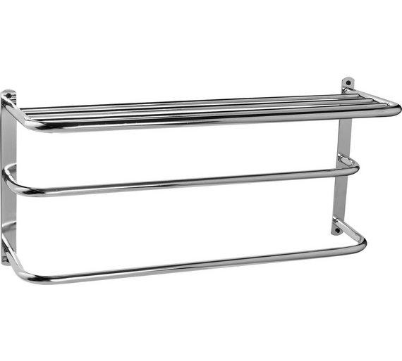 Click to zoom. Buy HOME Wall Mounted Towel Rail with Shelf   Metal at Argos co uk