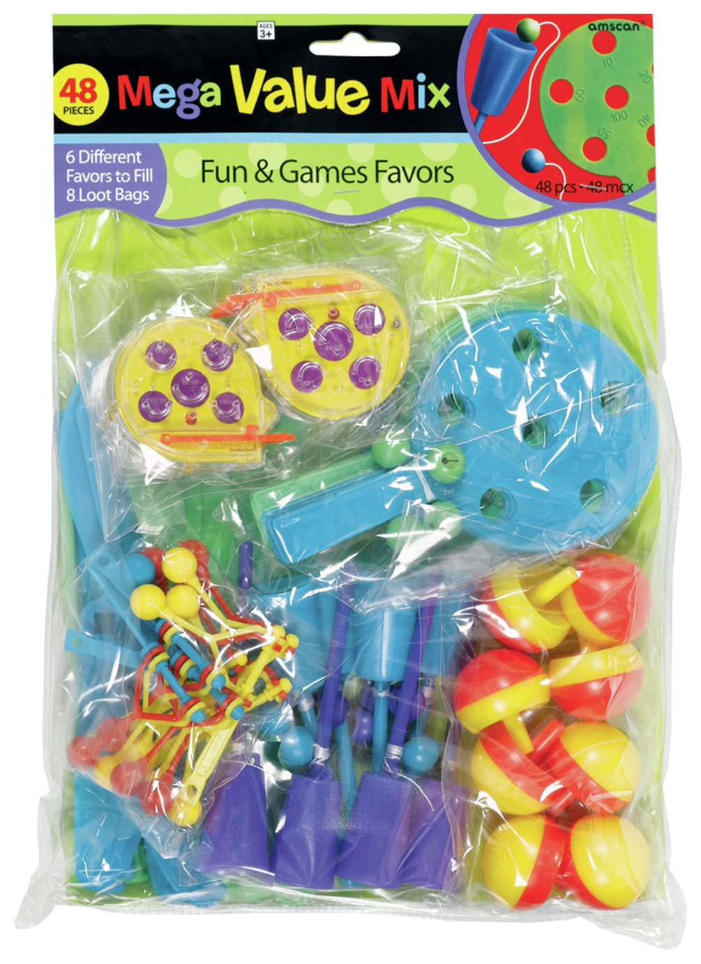 Image of Party Fun and Games Themed Pack - 48 Pieces.