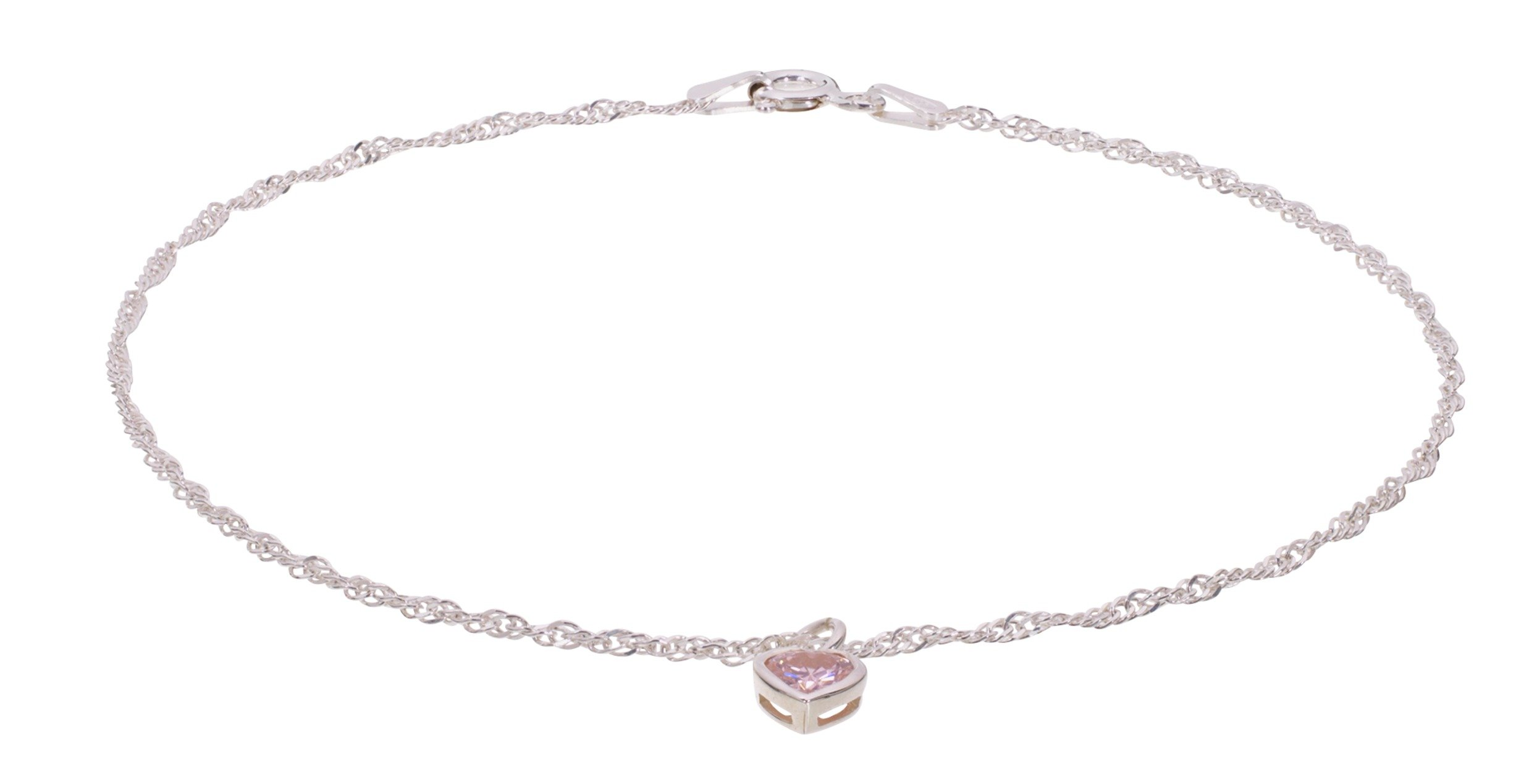 State Of Mine Sterling Silver Pink Cz Heart Anklet by Argos
