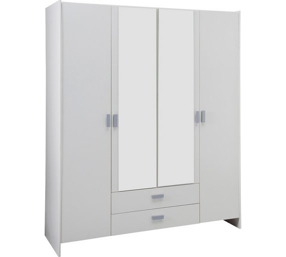 argos home capella 4 door 2 drawer mirrored wardrobe white - White Wardrobe