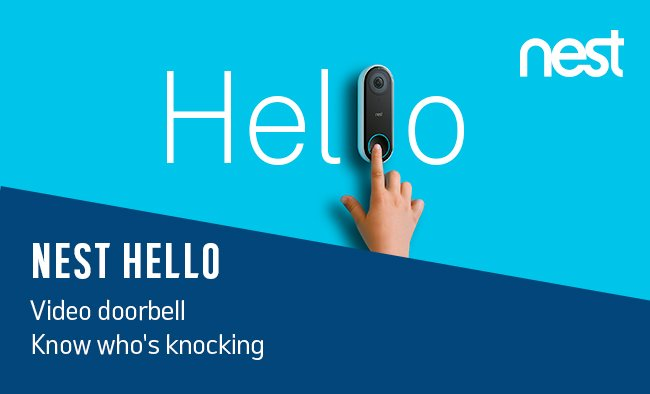 Nest Hello video doorbell. Know who's knocking.