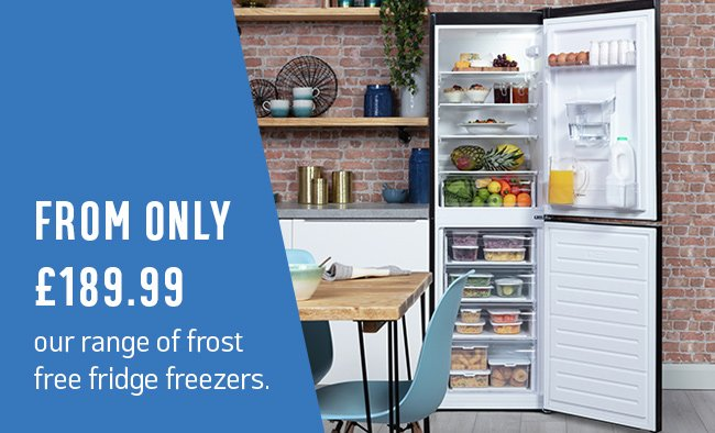 From only £189.99 our range of frost free fridge freezers.