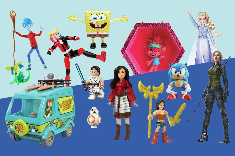 A variety of movie toys on a blue background.