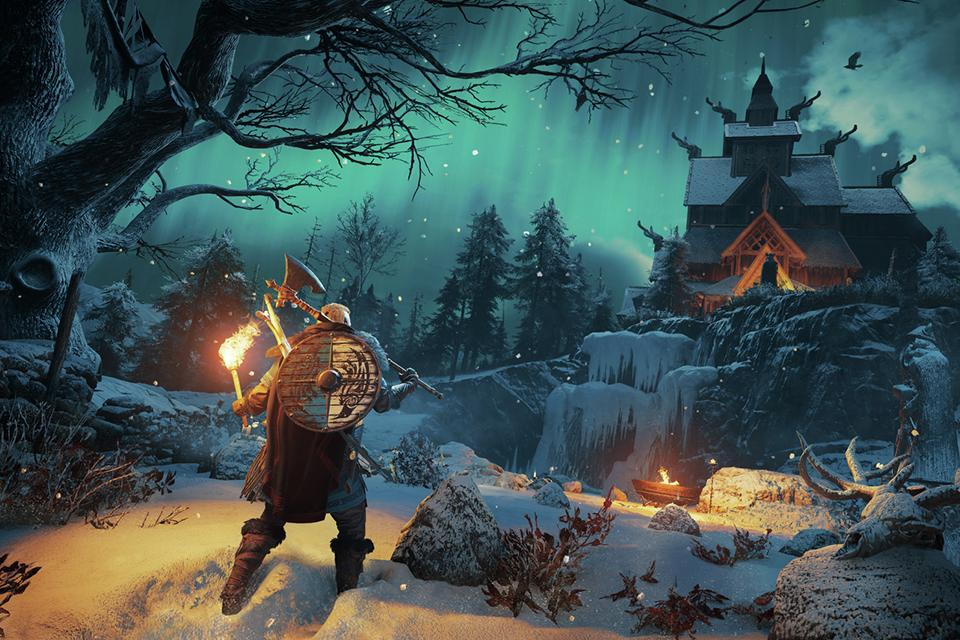 A screenshot from Assassin's Creed Valhalla showing a Viking warrior in a snowy landscape.