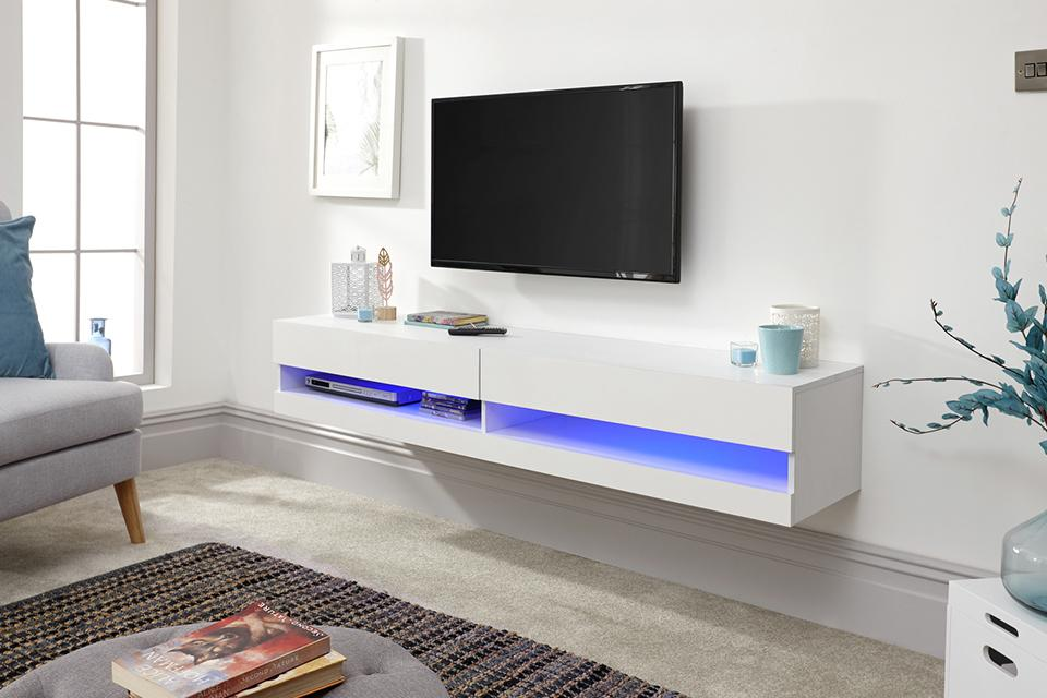 Floating TV stands.