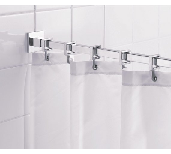 Curtains Ideas curtain rod and rings : Buy Croydex Square Shower Curtain Rod and Rings - Chrome at Argos ...