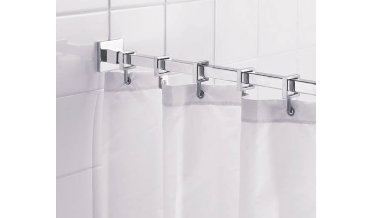 Croydex Square Shower Curtain Rod and Rings - Chrome Plated