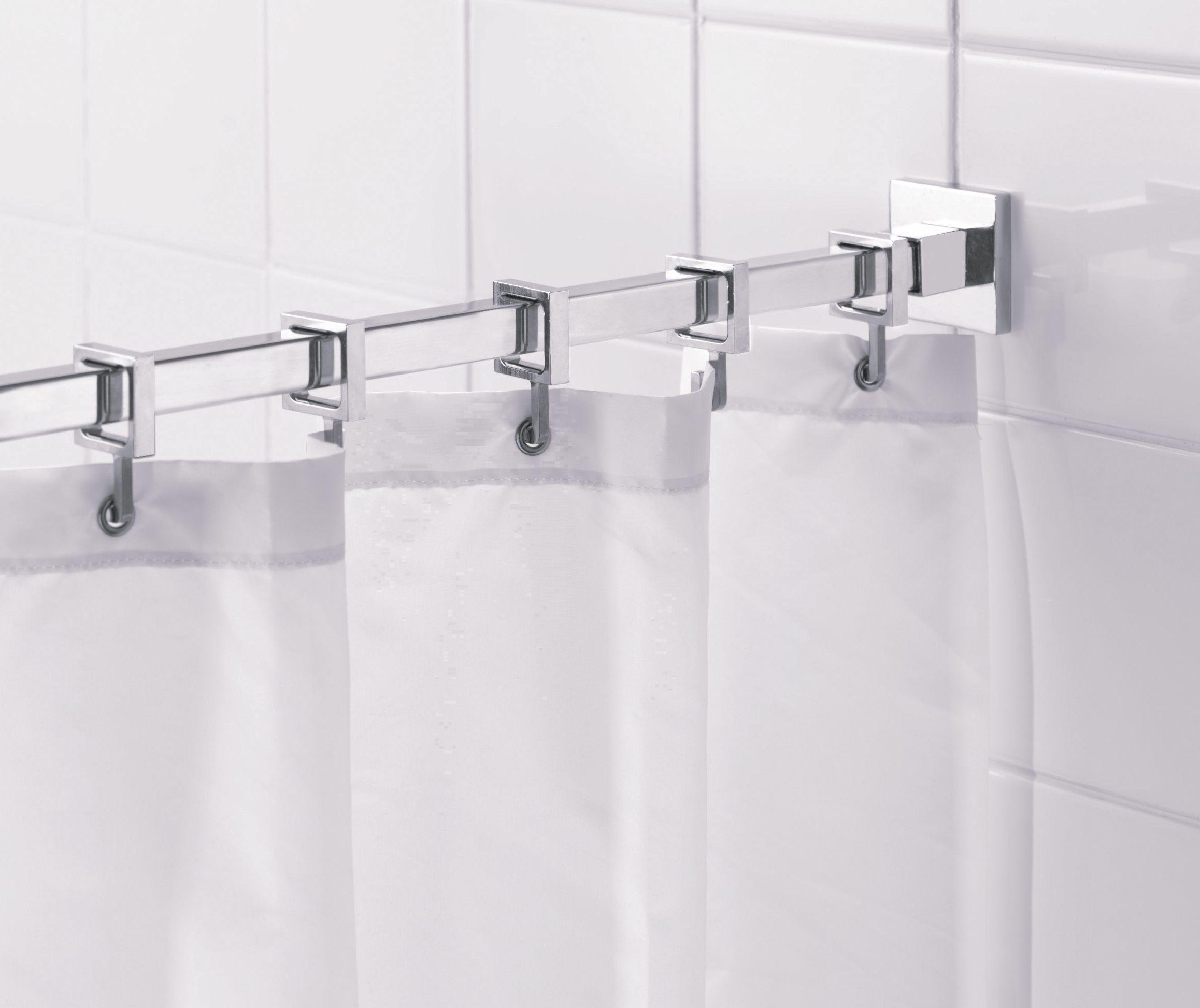 croydex square shower curtain rod and rings