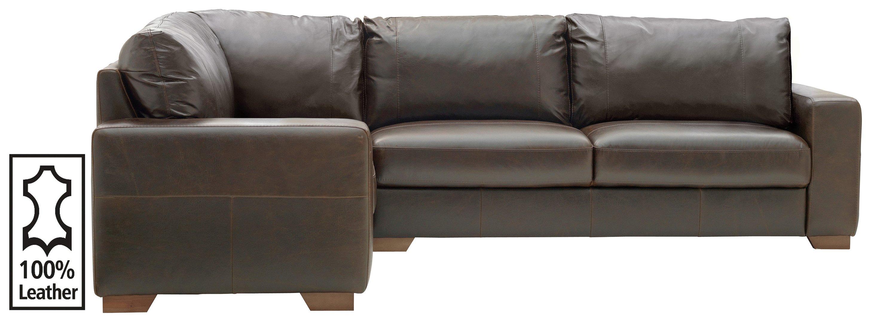 Argos Home Eton Left Corner Leather Sofa - Dark Brown