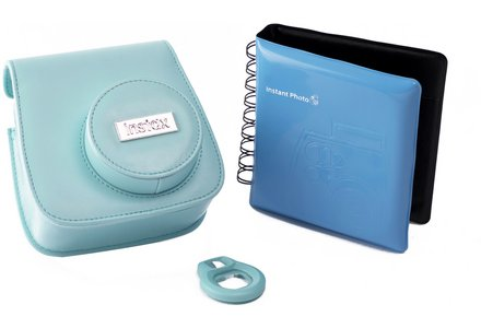Cut out image of the FujiFilm Mini 8 Instant Camera Accessory Kit in blue.