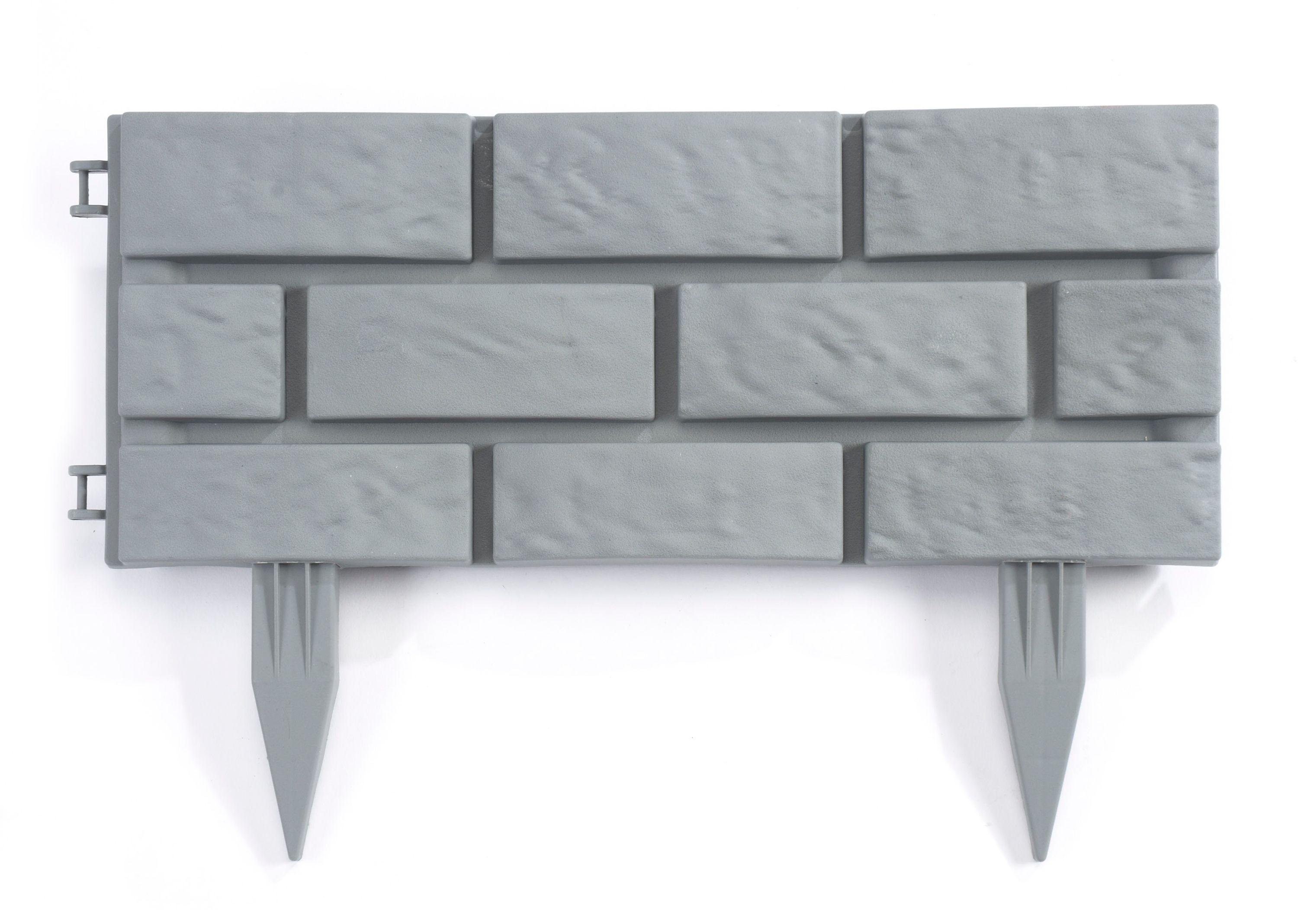 Brick Effect Grey Plastic Edging Panels - 4 Pack. lowest price