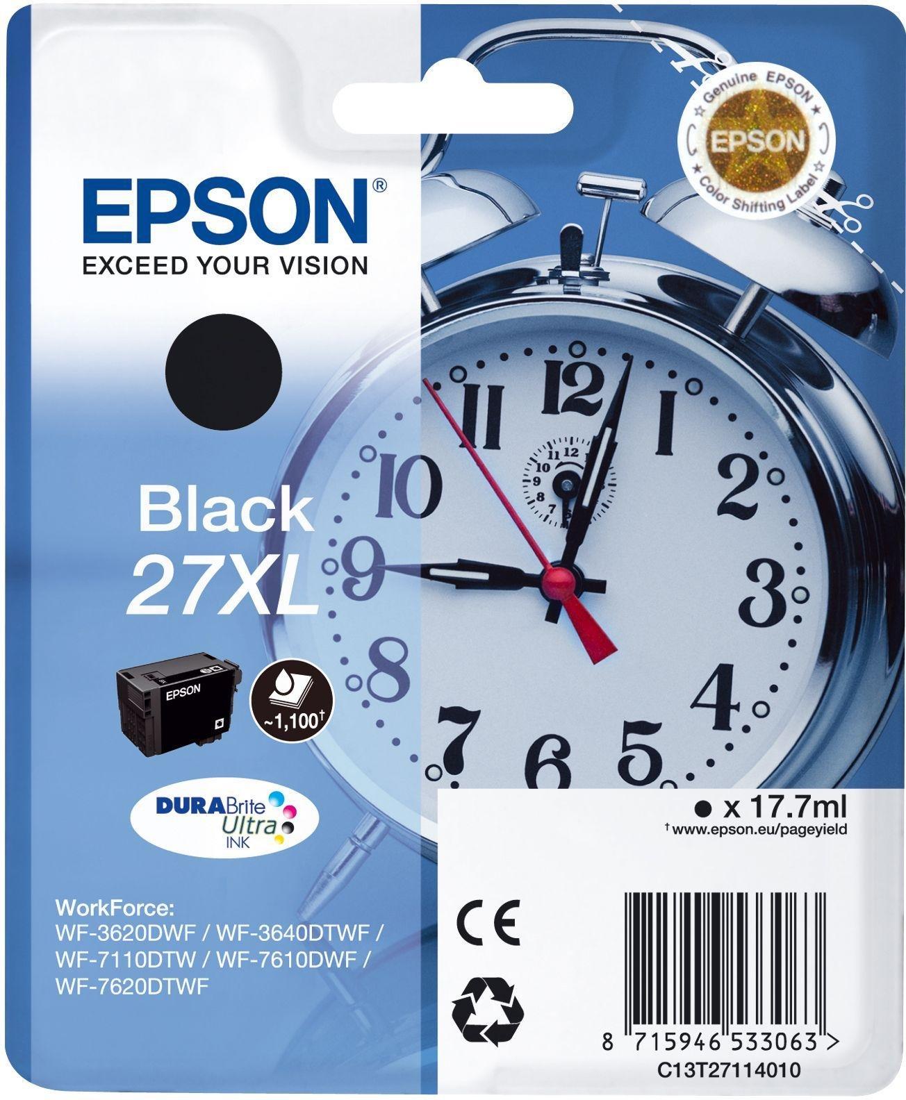 Image of Epson Alarm Clock 27 XL Black Ink Cartridge