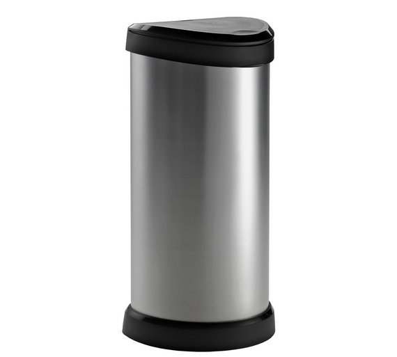 Image of Curver 40 Litre Deco Touch Top Kitchen Bin - Silver