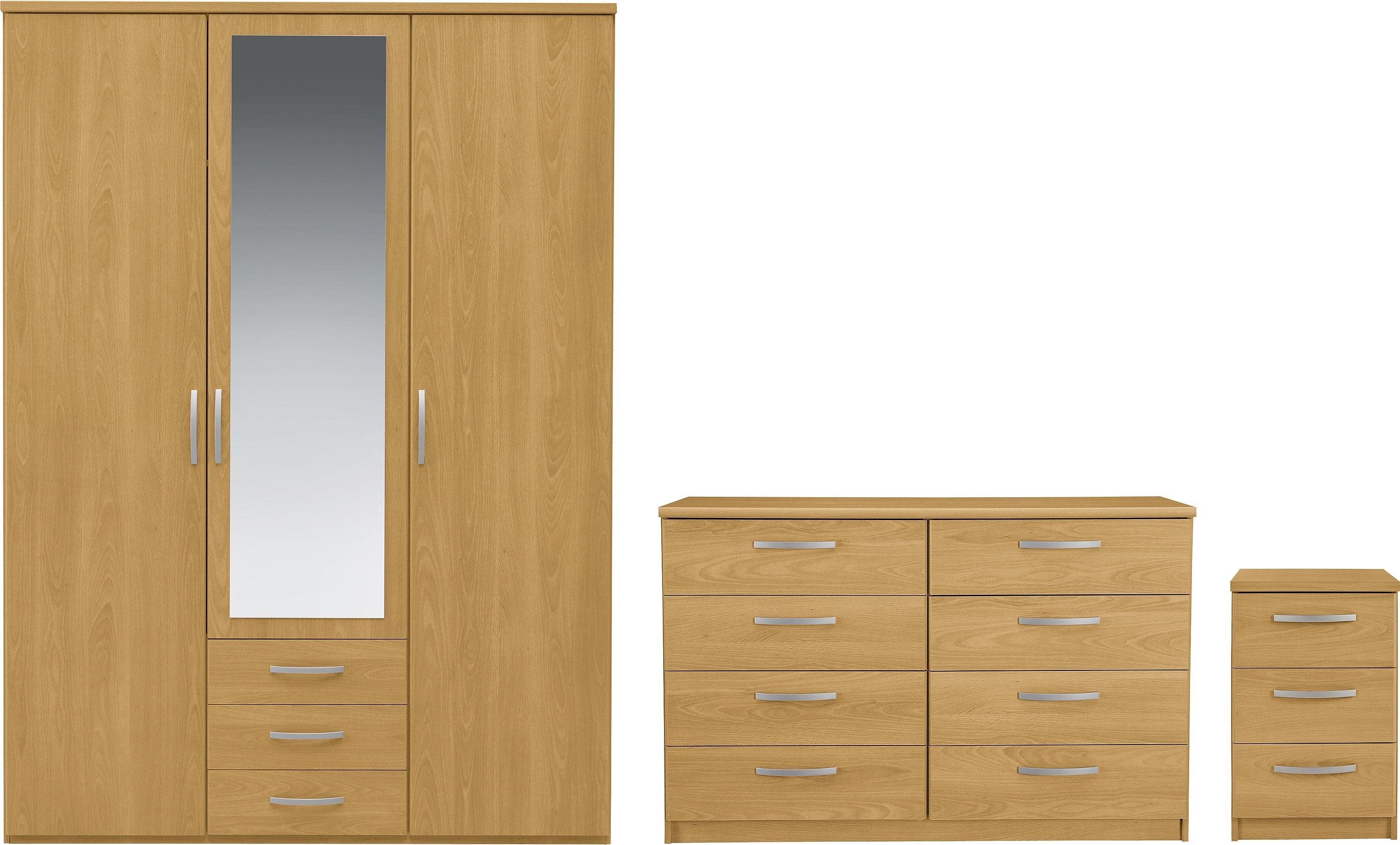 Argos Home New Hallingford 3Pc 3Dr Robe Package - Oak Effect