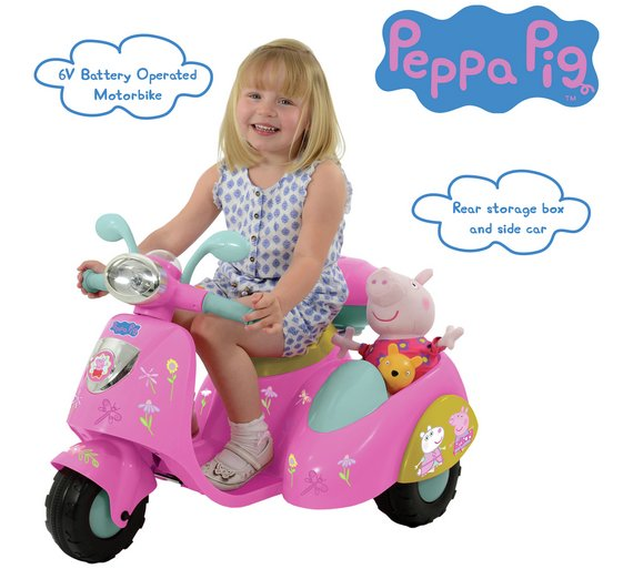 Buy Peppa Pig 6v Ride On Bike With Side Car At Your