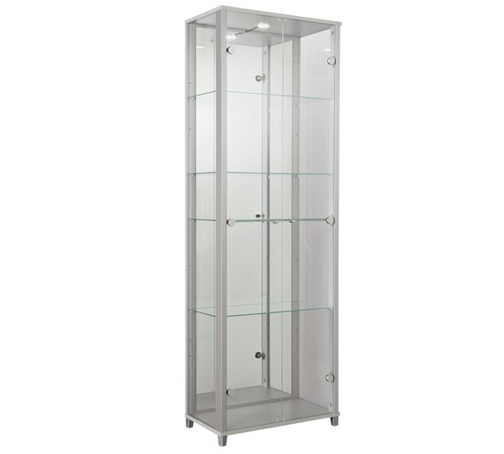 Buy Home 2 Door Glass Display Cabinet Silver Display Cabinets
